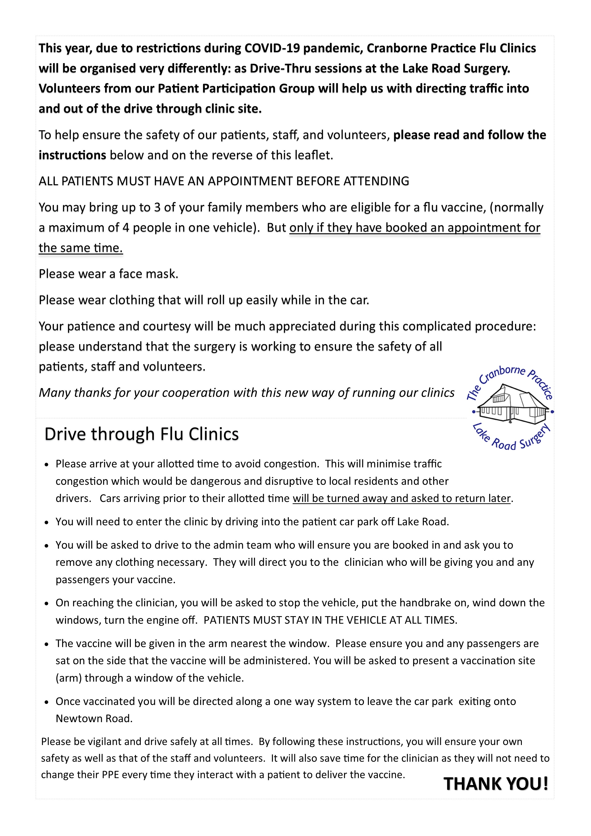 Drive through flu clinic arrangements - October 4th, 2020